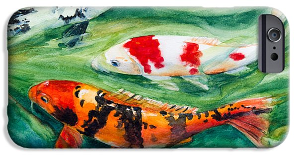Fish Pond iPhone Cases - Three Koi iPhone Case by Patricia Allingham Carlson