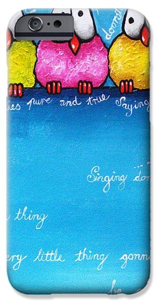 Three Little Birds iPhone Case by Lucia Stewart