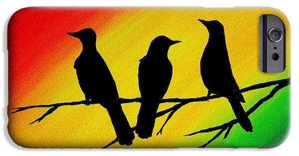 Recently Sold -  - Little iPhone Cases - Three Little Birds Original Painting iPhone Case by Michelle Eshleman