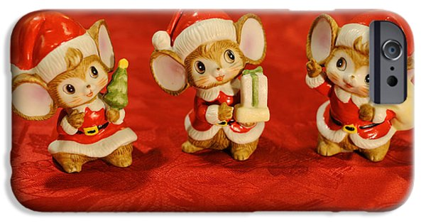Christmas Eve iPhone Cases - Three Little Christmas Mice iPhone Case by Luke Moore