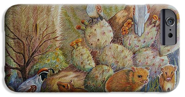 Red Rock Drawings iPhone Cases - Three Little Javelinas iPhone Case by Marilyn Smith