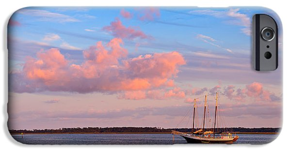 Tall Ship iPhone Cases - Three masted schooner at anchor in the St Marys River iPhone Case by Louise Heusinkveld
