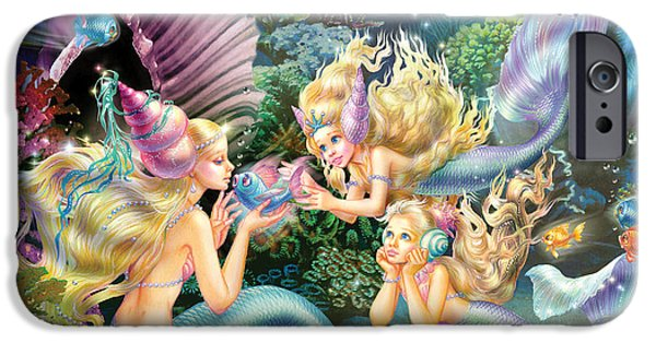 Three iPhone Cases - Three Mermaids iPhone Case by Zorina Baldescu