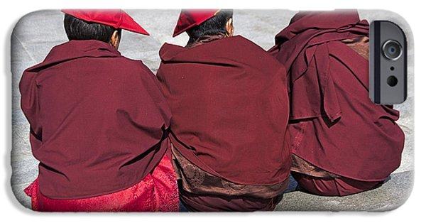 Tibetan Buddhism iPhone Cases - Three Monks iPhone Case by Hitendra SINKAR