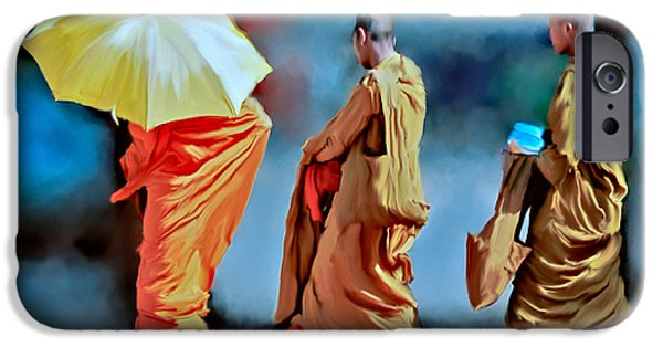 Buddhism iPhone Cases - Three Monks Walking iPhone Case by Ted Guhl