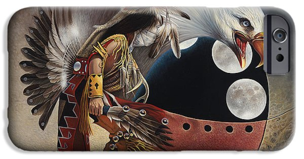Eagle iPhone Cases - Three Moon Eagle iPhone Case by Ricardo Chavez-Mendez