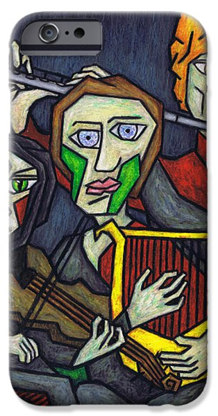 Music Pastels iPhone Cases - Three Musicians iPhone Case by Kamil Swiatek
