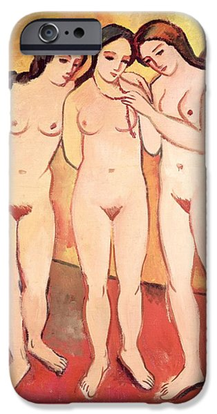 Erotica Paintings iPhone Cases - Three Naked Girls iPhone Case by August Macke