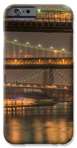 Three New York Bridges iPhone Case by Clarence Holmes