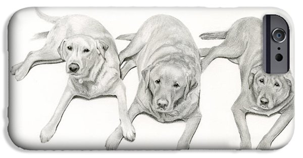 Mixed Labrador Retriever iPhone Cases - Three Of A Kind iPhone Case by Sarah Batalka