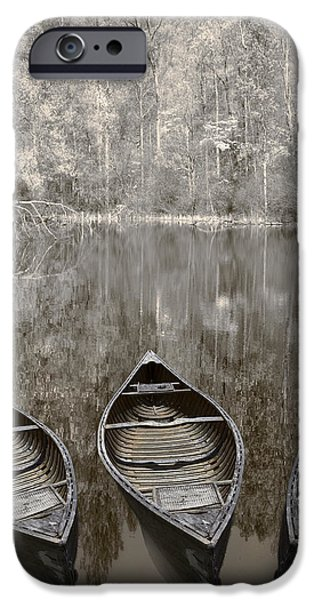 Three Old Canoes iPhone Case by Debra and Dave Vanderlaan