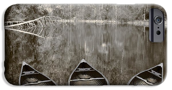 Canoe iPhone Cases - Three Old Canoes iPhone Case by Debra and Dave Vanderlaan