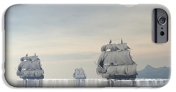 Pirate Ship iPhone Cases - Three Old Ships Sailing In The Ocean iPhone Case by Elena Duvernay