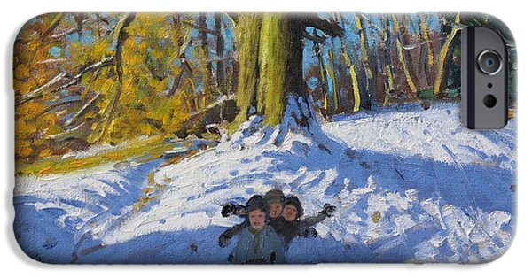Tobogganing iPhone Cases - Three on a sledge Allestree Park Derby iPhone Case by Andrew Macara