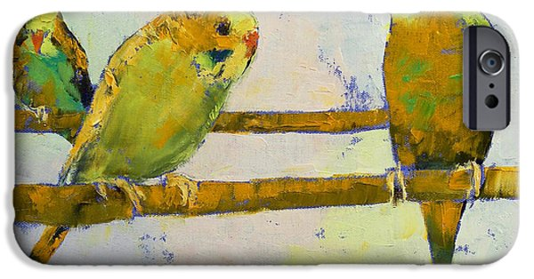 Michael Paintings iPhone Cases - Three Parakeets iPhone Case by Michael Creese