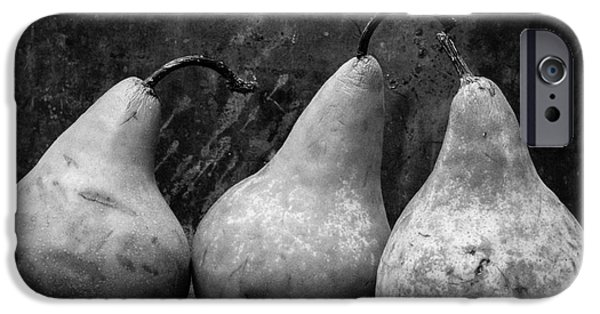 Pear Art iPhone Cases - Three Pear Still Life Black and White iPhone Case by Edward Fielding