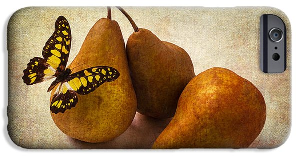 Pears iPhone Cases - Three Pears And Butterfly iPhone Case by Garry Gay