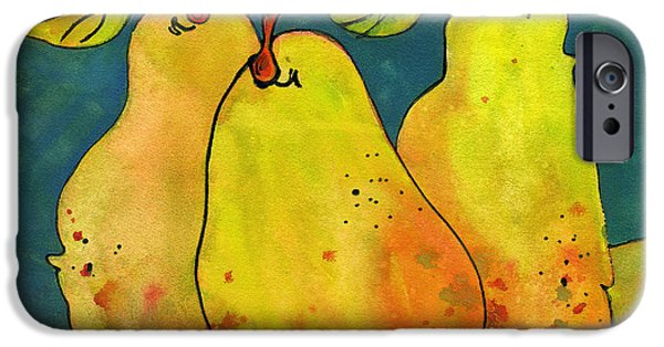 Pear iPhone Cases - Three Pears Art  iPhone Case by Blenda Studio