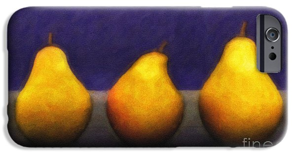 3d Graphic iPhone Cases - Three Pears iPhone Case by Jutta Maria Pusl