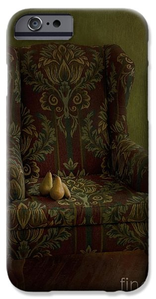 three pears sitting in a wing chair iPhone Case by Priska Wettstein