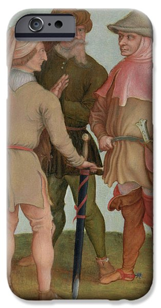 Basket iPhone Cases - Three Peasants, 16th Or 17th Century Oil On Panel iPhone Case by Albrecht Durer or Duerer