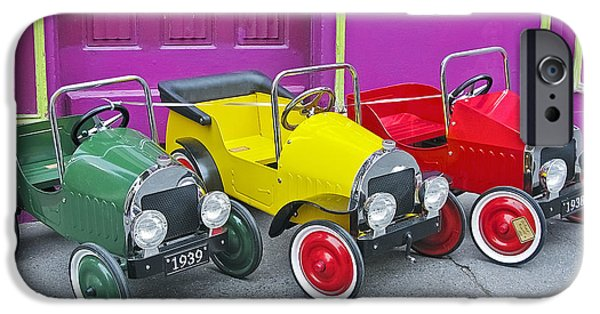 Toy Shop Digital iPhone Cases - Three Pedal Cars iPhone Case by David Thompson