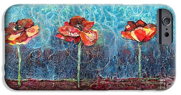 Fine Abstract Mixed Media iPhone Cases - Three Poppies iPhone Case by Shadia Zayed