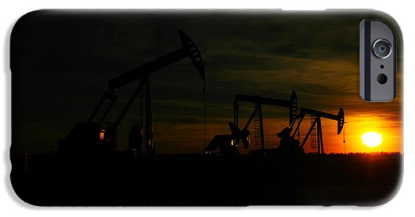 Oil Reserves iPhone Cases - Three Pump Jacks At Dusk iPhone Case by Jeff  Swan