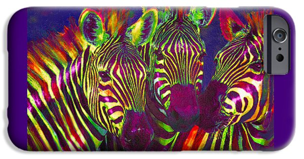 Zebra iPhone Cases - Three Rainbow Zebras iPhone Case by Jane Schnetlage