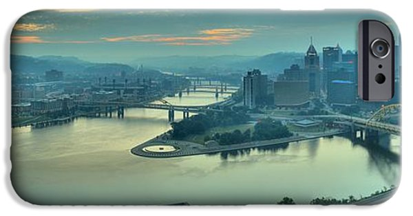 City Scape iPhone Cases - Three Rivers Morning iPhone Case by Adam Jewell