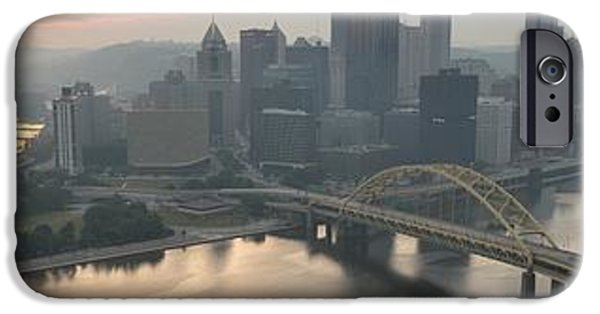 City Scape iPhone Cases - Three Rivers Sunrise Panorama iPhone Case by Adam Jewell