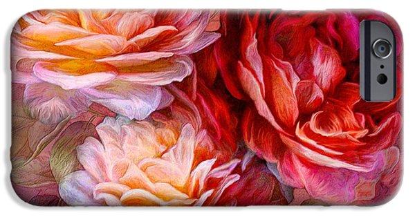 Peach Roses iPhone Cases - Three Roses - Red iPhone Case by Carol Cavalaris