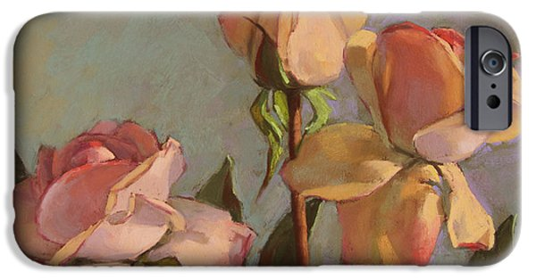 Rose Pastels iPhone Cases - Three Roses iPhone Case by Sarah Blumenschein