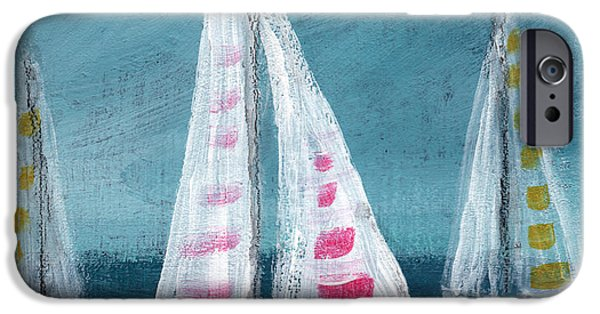 Sailboat Ocean Mixed Media iPhone Cases - Three Sailboats iPhone Case by Linda Woods