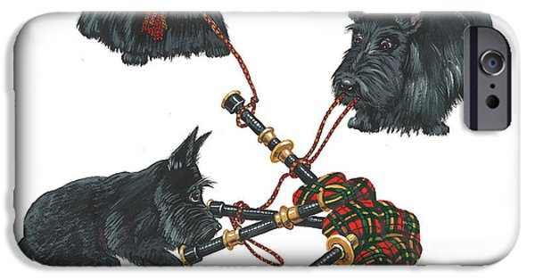 Scottish Terrier Art iPhone Cases - Three Scotties and the Pipes iPhone Case by Margaryta Yermolayeva