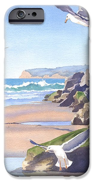 Seagull Paintings iPhone Cases - Three Seagulls at Coronado Beach iPhone Case by Mary Helmreich