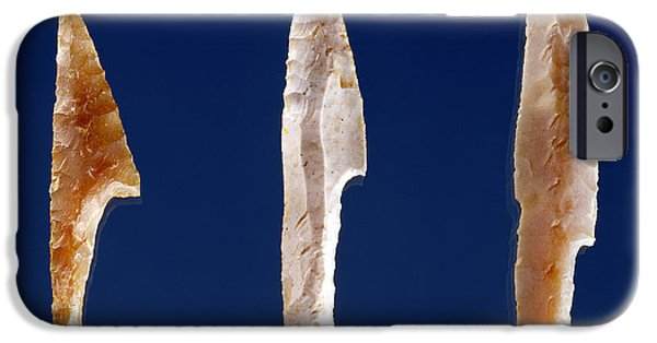 Tools Photographs iPhone Cases - Three Serrated Points, From Volgu, Solutrean Period, 20000-15000 Bc Flint iPhone Case by Prehistoric