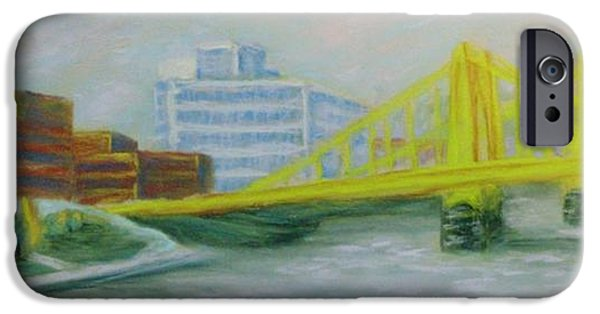 Baseball Pastels iPhone Cases - Three Sisters at PNC Park iPhone Case by Joann Renner
