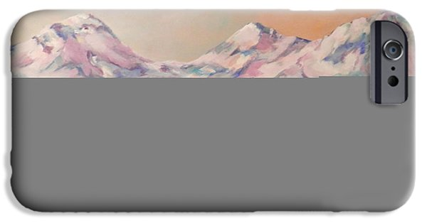 Deschutes River iPhone Cases - Three Sisters Mountains in Oregon iPhone Case by Judith Jude Welter