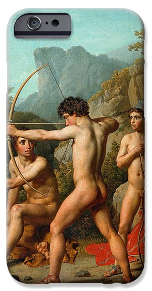 Practise iPhone Cases - Three Spartan boys practising archery iPhone Case by Christoffer Wilhelm Eckersberg