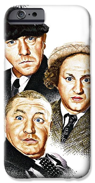 Celebrity Drawings iPhone Cases - Three Stooges iPhone Case by Judy Skaltsounis