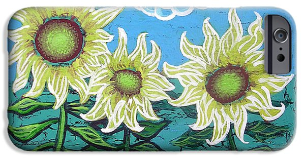 Esson iPhone Cases - Three Sunflowers iPhone Case by Genevieve Esson