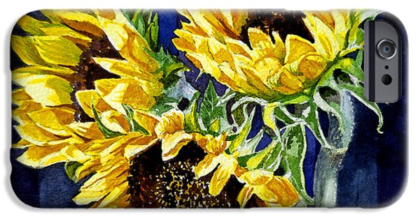 Design Paintings iPhone Cases - Three Sunny Flowers iPhone Case by Irina Sztukowski