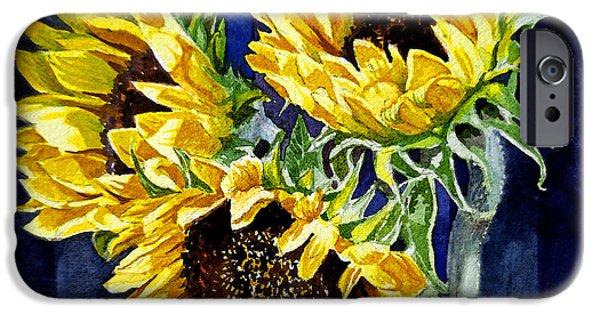 Sunflower Paintings iPhone Cases - Three Sunny Flowers iPhone Case by Irina Sztukowski
