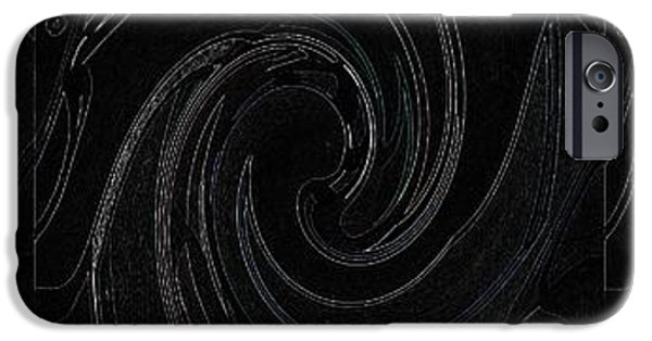Abstract Digital Mixed Media iPhone Cases - Three Swirls On Black iPhone Case by Helena Tiainen