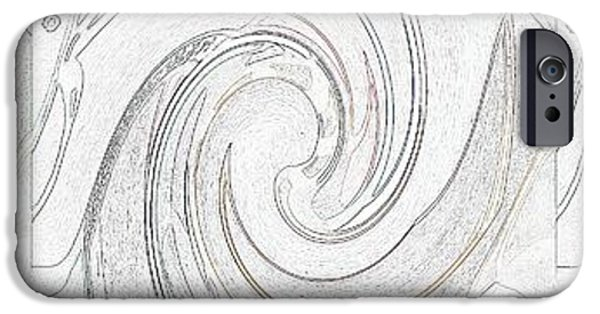 Abstract Digital Mixed Media iPhone Cases - Three Swirls On White iPhone Case by Helena Tiainen