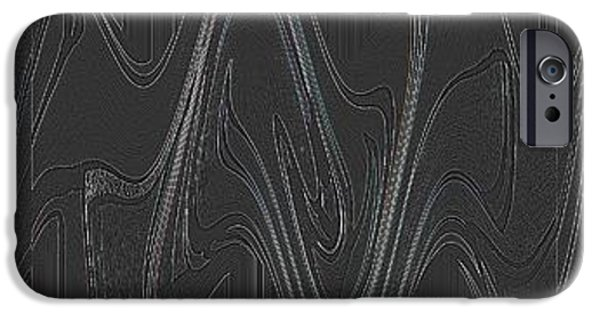 Monotone iPhone Cases - Three Swirls Rippled and Altered iPhone Case by Helena Tiainen