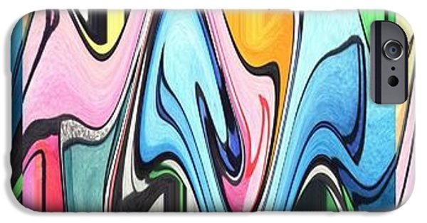 Full Spectrum Mixed Media iPhone Cases - Three Swirls Rippled iPhone Case by Helena Tiainen