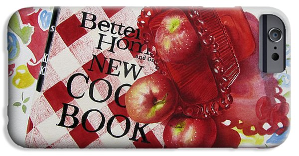 Cookbook Paintings iPhone Cases - Three to get ready iPhone Case by Karlyn Holloway