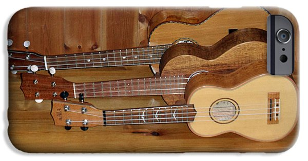 Ukelele iPhone Cases - Three ukeleles iPhone Case by Rod Jones